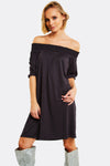 Dark Grey Off Shoulder Dress