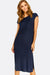 Navy Textured Dress With Side Slits