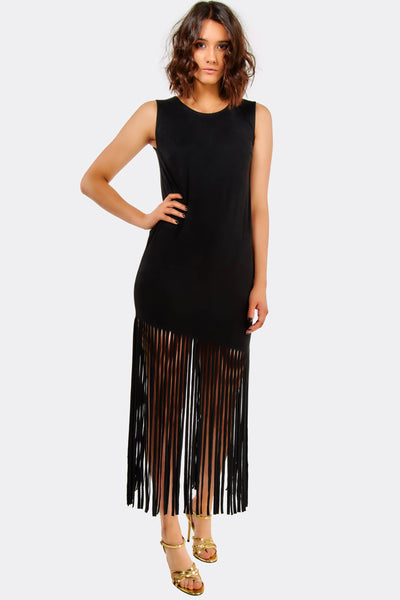 Black Maxi Dress With Fringes