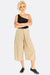 Beige Wide Leg Crop Trousers