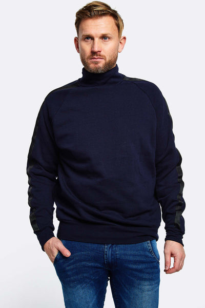 navy turtleneck sweatshirt