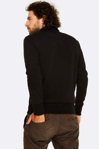 black sweatshirt with short zipper