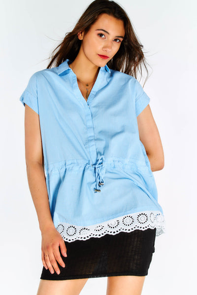 Blue Striped Shirt With Lace