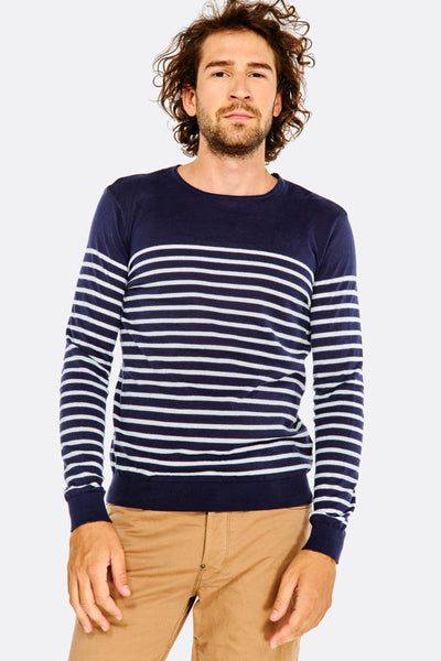 navy striped cotton sweater