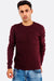 Dark Red Sweater With Round Neck