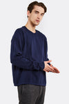 Navy Fine Knit Cotton Jumper