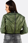 Green Crop Bomber Jacket