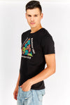 Black Cotton T-Shirt With Front Print