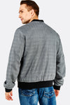 Grey Checkered Bomber Jacket