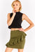Olive Green Short Skirt With Ruffles