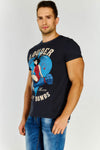 Navy Blue Cotton T-shirt With Multicolour Print