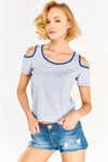 Blue Striped Cold Shoulder T-Shirt