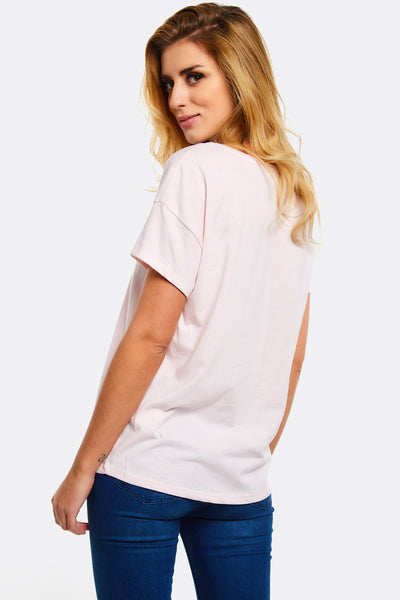 Pink T-Shirt With Text Print