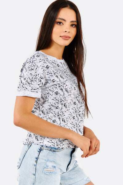 White Patterned Cotton T-Shirt