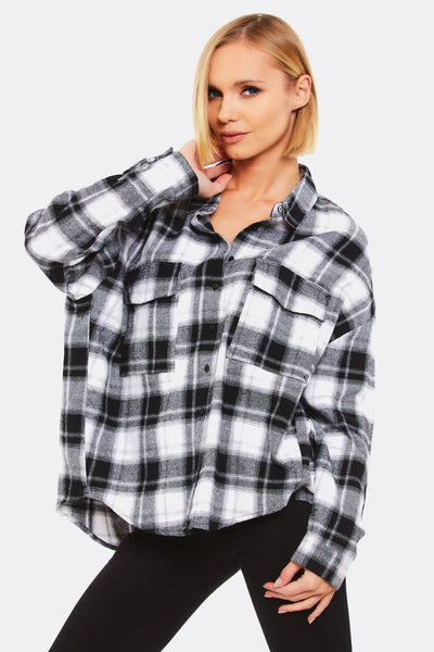 Black Loose Fit Checkered Shirt