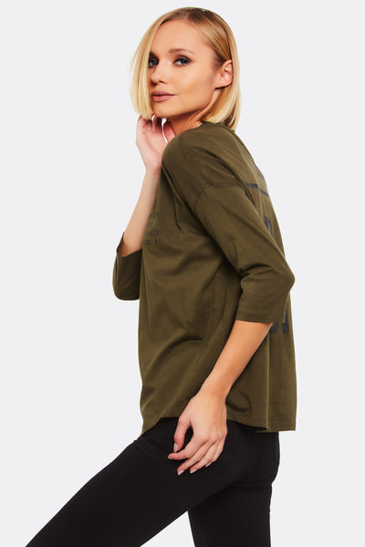 Military Green Cotton Blouse With Text Print
