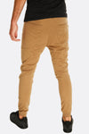 beige trousers with elastic cuffs