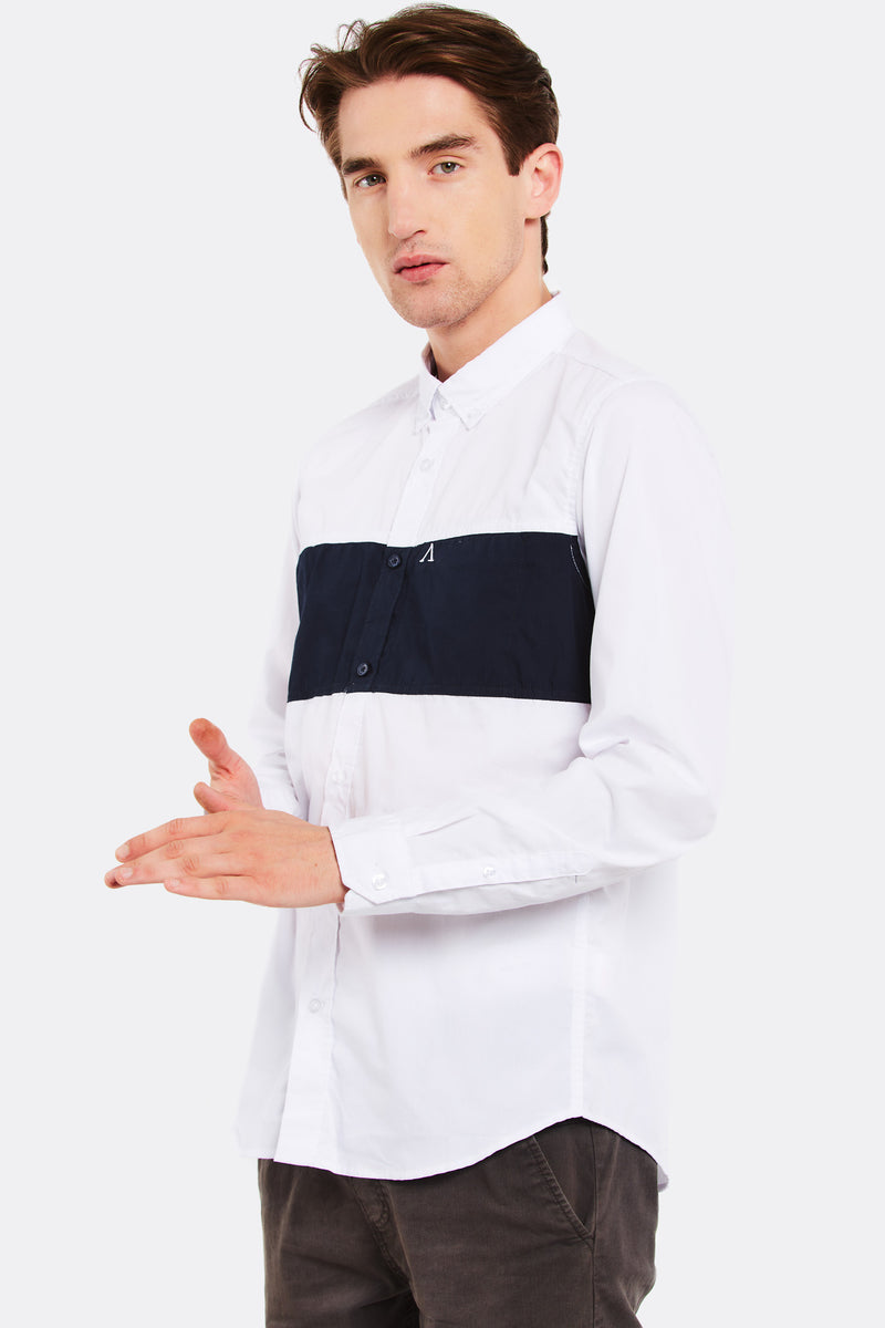 White Shirt With Contrast Detail
