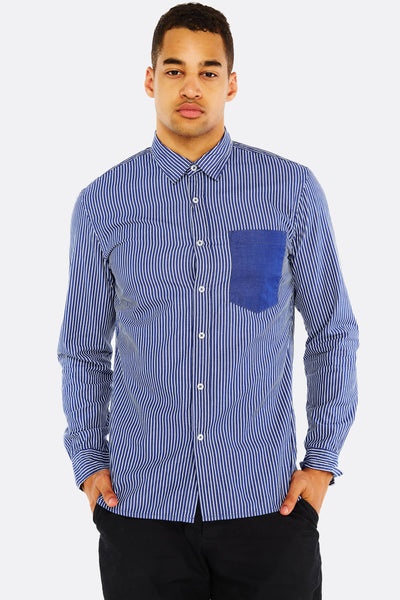 Navy Striped Cotton Shirt