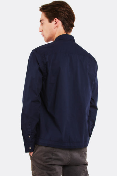 Navy Cotton Shirt With Zip