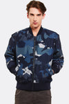 Navy Camouflage Printed Jacket