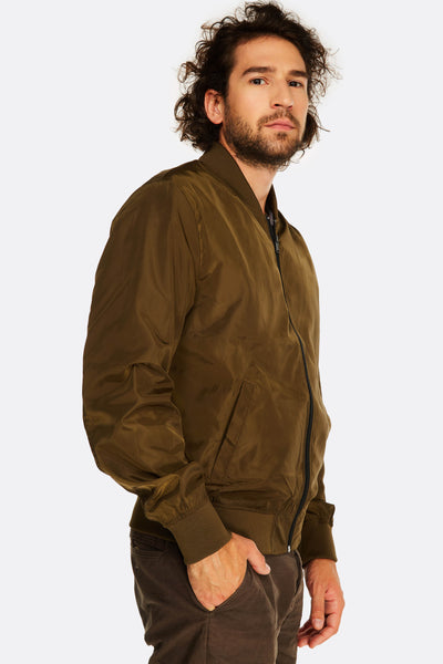 brown camo printet bomber jacket