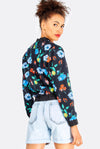 Black Cotton Floral Printed Bomber Jacket
