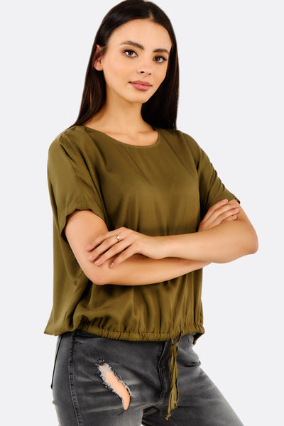 Olive Green Short Sleeve Blouse