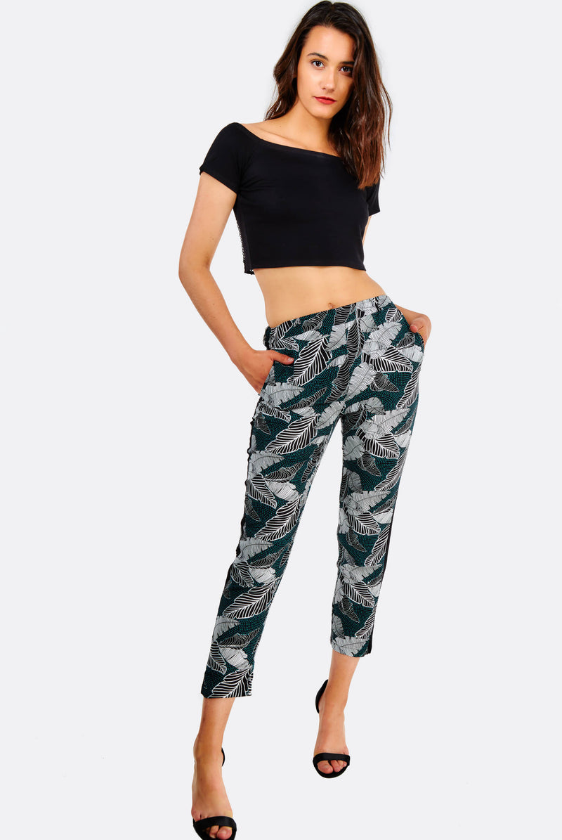 Multicoloured Leaf Printed Trousers