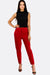 Red Trousers With Contrast Waist