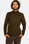 dark green turtleneck sweater