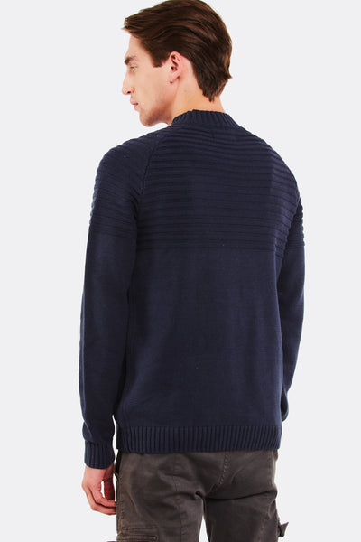 Navy Jumper With Ribbed Edges