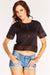 Black Crochet Trim Cropped T-Shirt