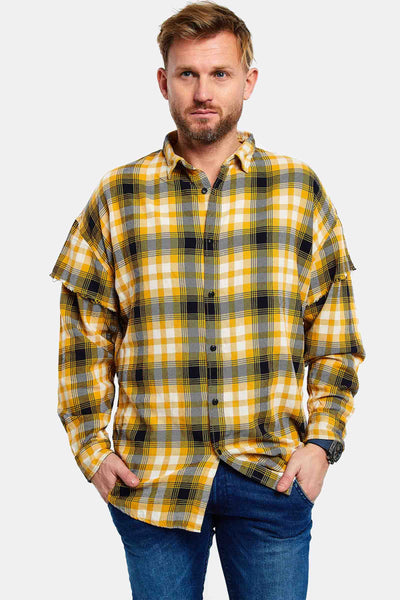 yellow checkered cotton shirt