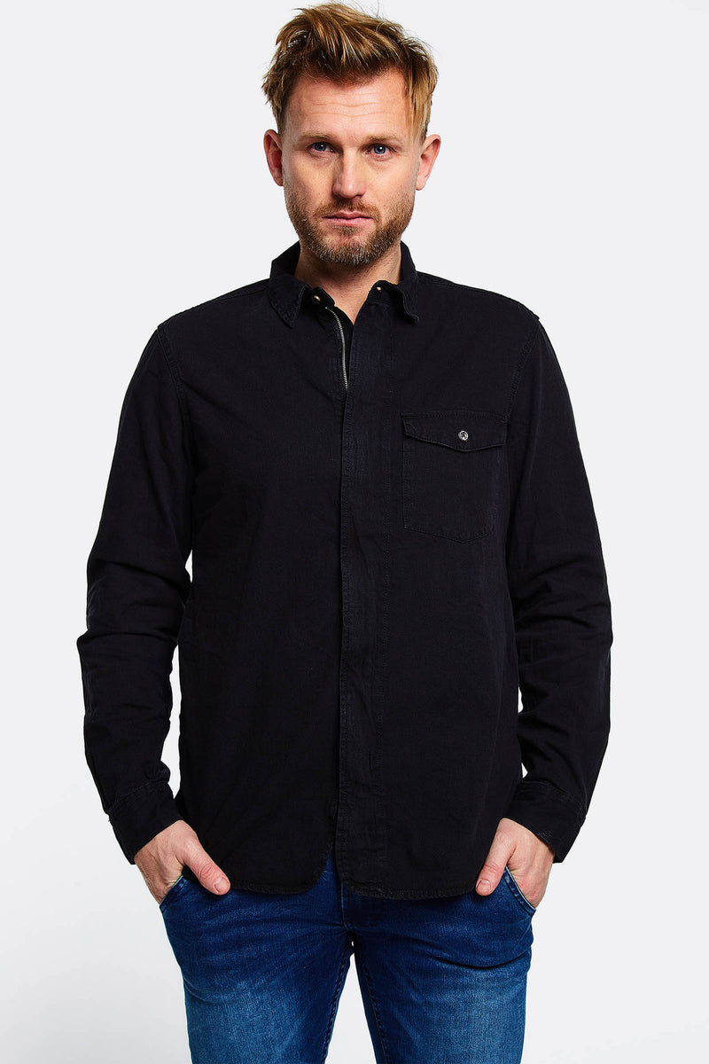 black cotton shirt with zipper