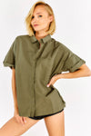Kaki Cotton Loose Fit Shirt