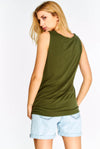Olive Green V-Neck Top With Modal