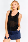 Black Fine Knit Top With Criss-Crossed Back