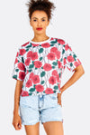 Multicoloured Cotton T-Shirt With Roses Print