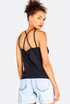 Black Top With Back Criss-Crossed Straps