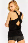 Black Sleeveless Longline Top