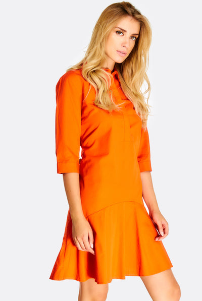 Orange Cotton Shirt Dress