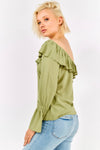 Pale Green Loose Fit Long Sleeve Bardot Blouse