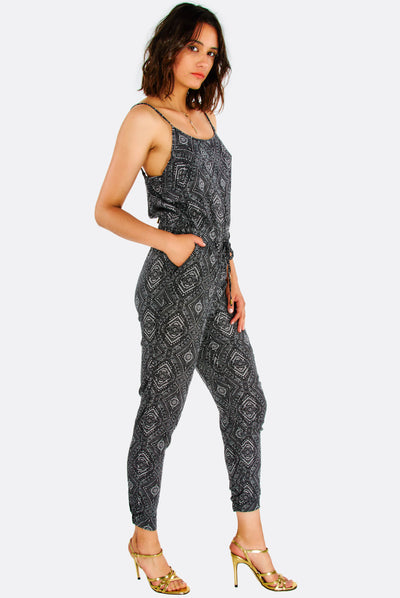 Grey Patterned Jumpsuit With Thin Straps