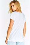 White Cotton T-Shirt With Glittery Print