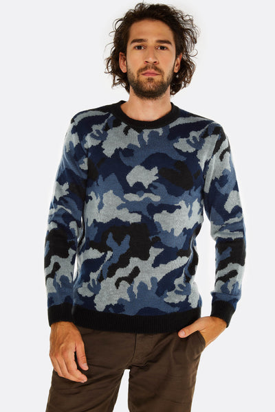 navy camo printed sweater