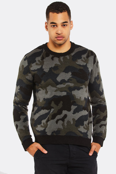 Military Green Jumper With Camouflage Print