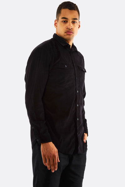 Black Cotton Shirt With Chest Pockets