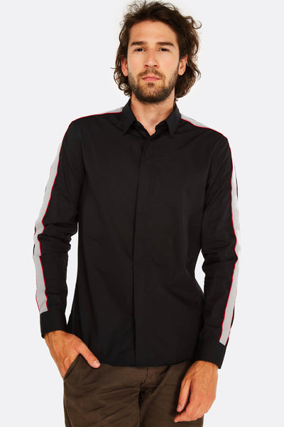 black shirt with contrast details