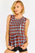 Multicolor Print Checkered Sleeveless Blouse